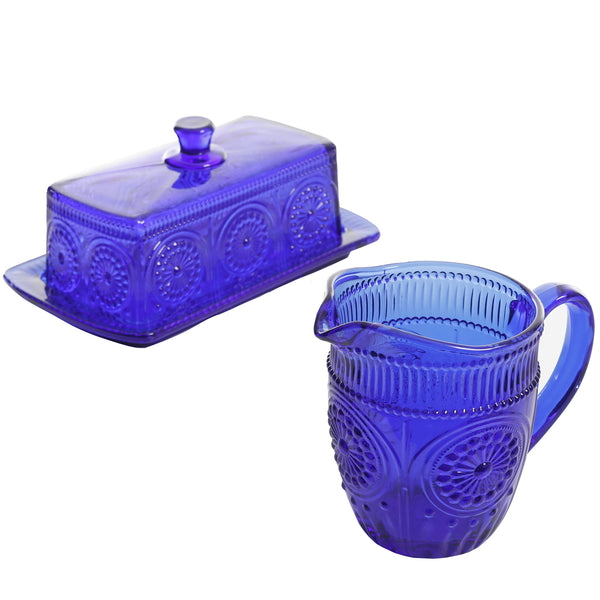 Cobalt Blue Embossed Glass Canister bundle 3-Piece Butter Dish & Creamer Set