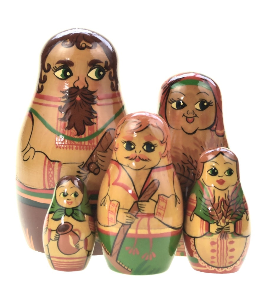 Dolls | Matryoshka Russian Romashki Men and Women Nesting Dolls #8292-M