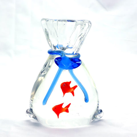 Art Glass Paperweight Fish In Vase #9 | OneGreatShop.com