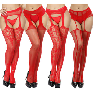 Red Fishnet Stockings Tights Sexy Suspender Pantyhose for Women Thigh High Stocking