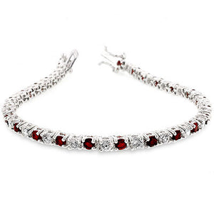Jewelry | Ruby Red Crystal and Cubic Zirconia Tennis Bracelet