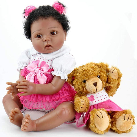 Dolls | Baby Dolls Lifelike Weighted Black African American Girl Doll with Teddybear