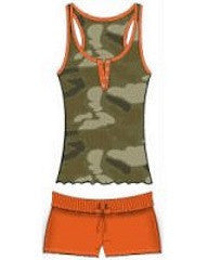 Sleepwear | Women's Pajamas Camouflage Top Orange Shorts
