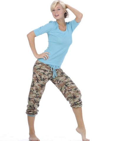 Sleepwear | Women's Pajamas Camouflage Capri Pants and Blue Top Set
