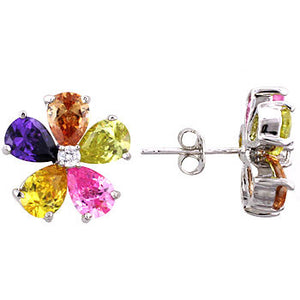 Jewelry | Stud Earrings Silvertone Multicolor Cubic Zirconia and  Crystal Flower