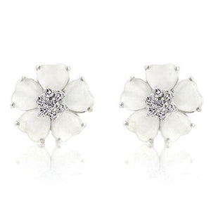 Jewelry | White Floral Earrings 14K Gold Bonded Cubic Zircona