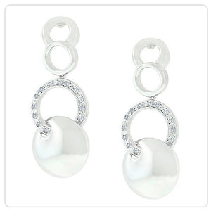 Jewelry| White Gold Silver Circle Earrings with Inter-Looping Circles