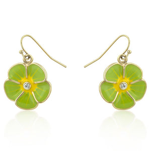 Jewelry | Green Enamel Floral Earrings