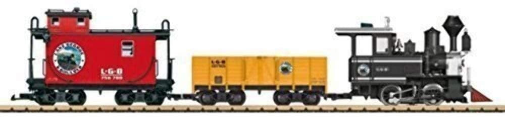 This starter set includes an old-timer steam locomotive and two freight cars painted and lettered for the Lake George and Boulder Railroad, LGB for short.