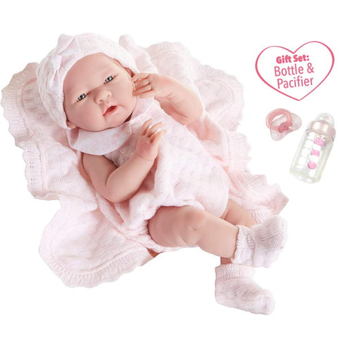 "JC Toys La Newborn All-Vinyl-Anatomically Correct Real Girl 15"" Baby Doll in Pink Knit Outfit and Accessories, Designed by Berenguer"