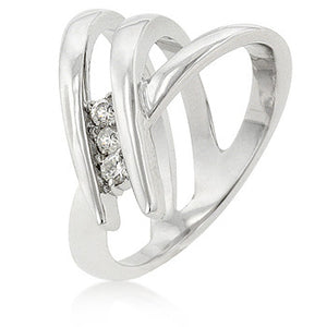 Jewelry| White Clear Cubic Zirconia Triple Band Ring with 3 Prong Set in Silvertone