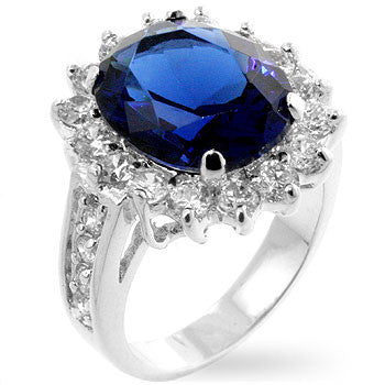 Jewelry | Oval Sapphire Crystal and Round Cubic Zirconia Ring