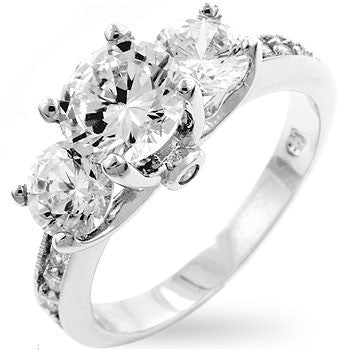 Jewelry| Three Stone Cubic Zirconia Engagement or Anniversary Ring CZ