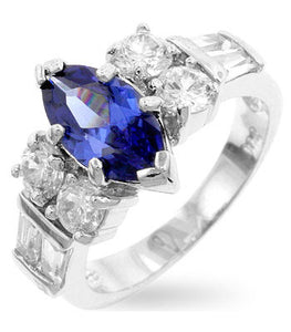 Jewelry| Marquise Tanzanite Cubic Zirconia Crowned Ring