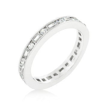 Jewelry| Cubic Zirconia Silver Clear Eternity Ring