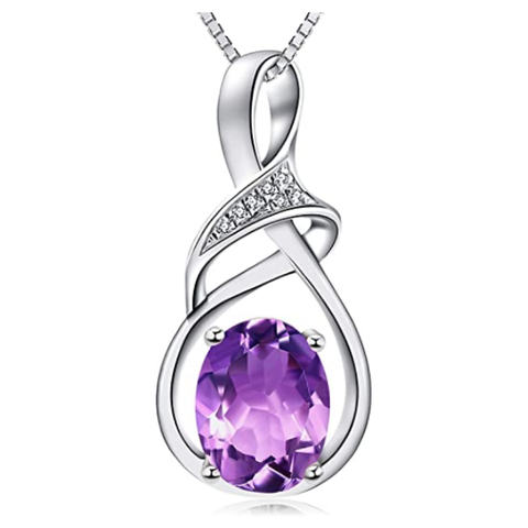 Fine Jewelry Natural Gemstone Gifts Sterling Silver Amethyst Pendant Necklace