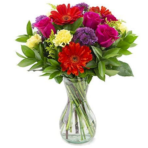 Two Dozen Red Roses Flower Bouquet with Clear Vase