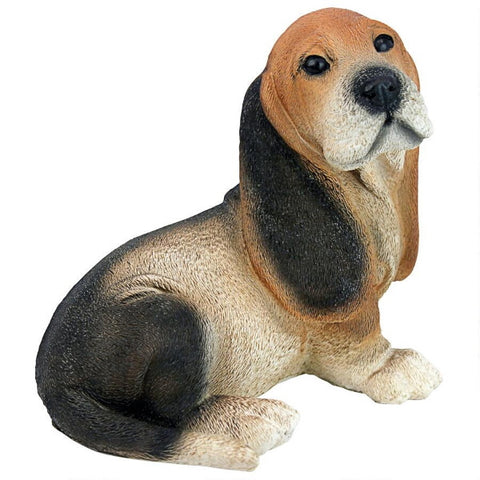 Black & Brown Basset Puppy Dog Statue Figurine