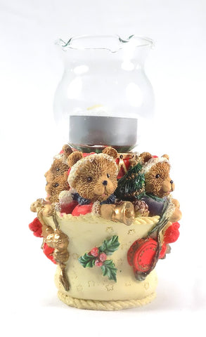 Holiday | Christmas Bears Candle Holder Red Bow