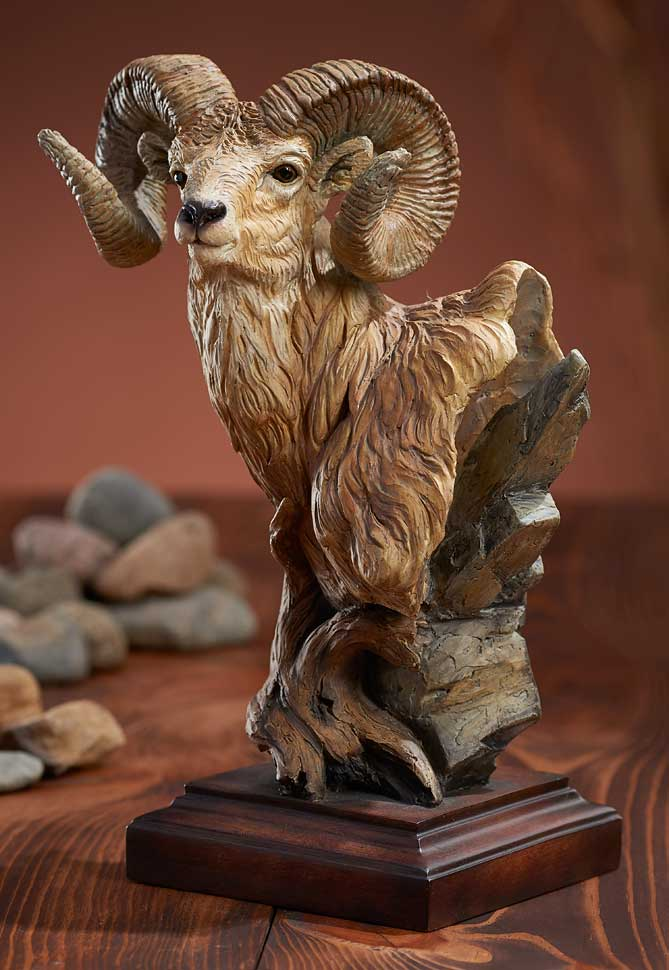 Mill Creek Studios Figurines | Big Game Sculpture Longhorn Ram Sheep