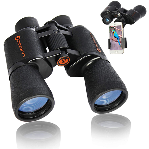 Binoculars | Waterproof Easy Focus Binoculars with Phone Mount Strap Carrying Bag