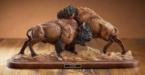Mill Creek Studios Figurines | Bison and Buffalo Sculpture Test of Strength