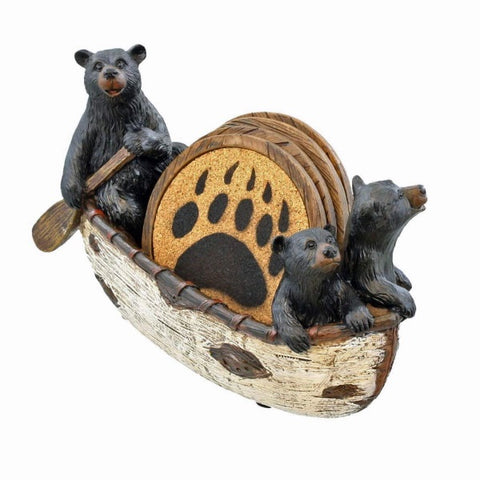 Home Decor | Black Bears Canoeing Coaster Set