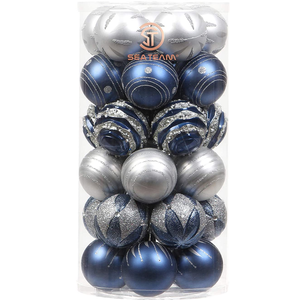 Holiday | Christmas Ornaments Blue and Silver Set of 30