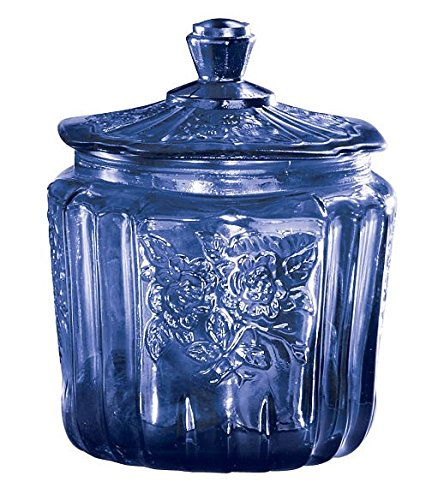 Art Glass | Cobalt Blue Cookie Jar Depression Style Glass Antique Reproduction