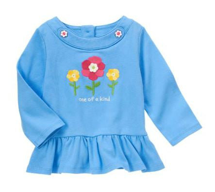 Baby Clothes | Gymboree Baby Girl Blue Flower Top Size 6-12 Months