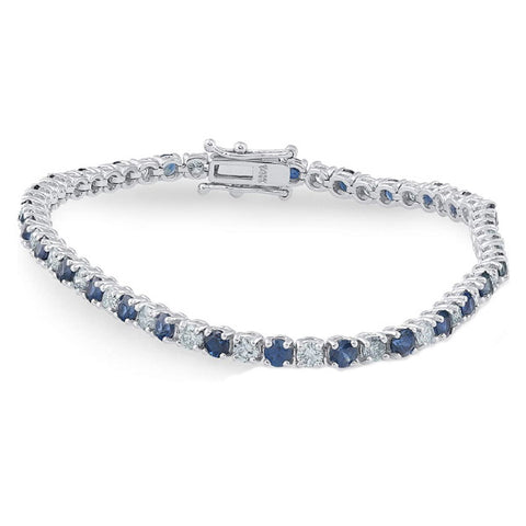 Jewelry | Blue Sapphire & Diamond Genuine Tennis Bracelet