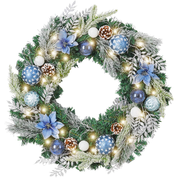 Holiday | 24 Inch Silver Blue Christmas Door Wreath
