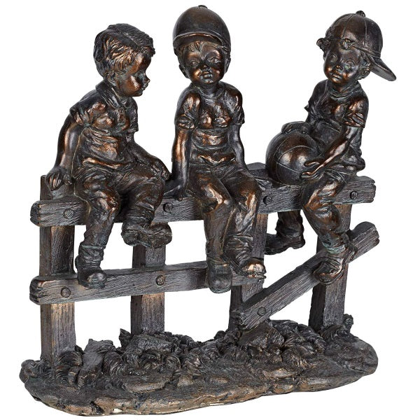 Sculpture | Children Sitting on Fence Figurine