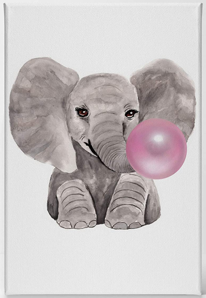 Art | Bubble Chewing Gum Elephant Animal Posters Canvas Art
