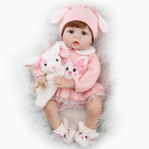 Baby Doll Lifelike Weighted Girl Doll 22 Inch with Bunny Set