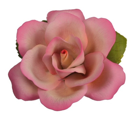 Capodimonte Porcelain Single White and Pink Rose by Napolean