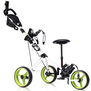Golf Push Cart, Foldable 3 Wheels Push Pull Cart with Seat Scoreboard Bag