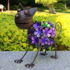 Garden Statue | Solar Animal Lights Rusty Cat Statue