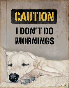 Tin Sign | Lazy Dog Metal Tin Sign Caution I Don't Do Mornings