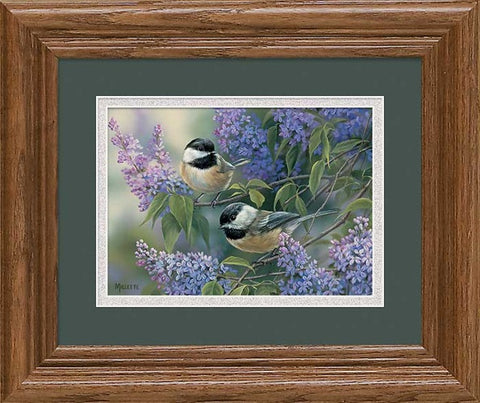 Art Print | Chickadees & Lilacs Framed Art Print  By Rosemary Millette