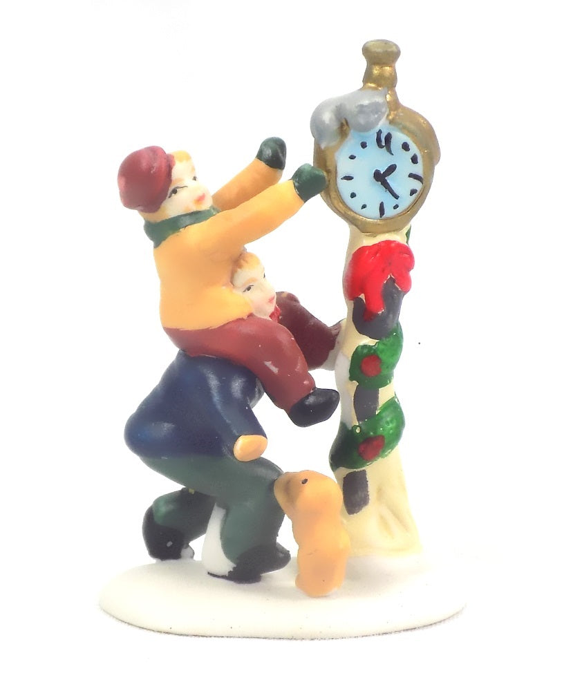 Christmas Village Accessories Clock Man
