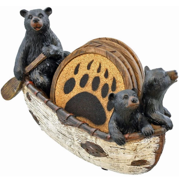 Rustic Coasters in Handmade Canoe with Adorable Black Bear Figurines