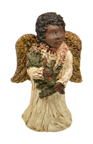 Figurines | Collectibles Black Angel Child with Christmas Tree Figurine