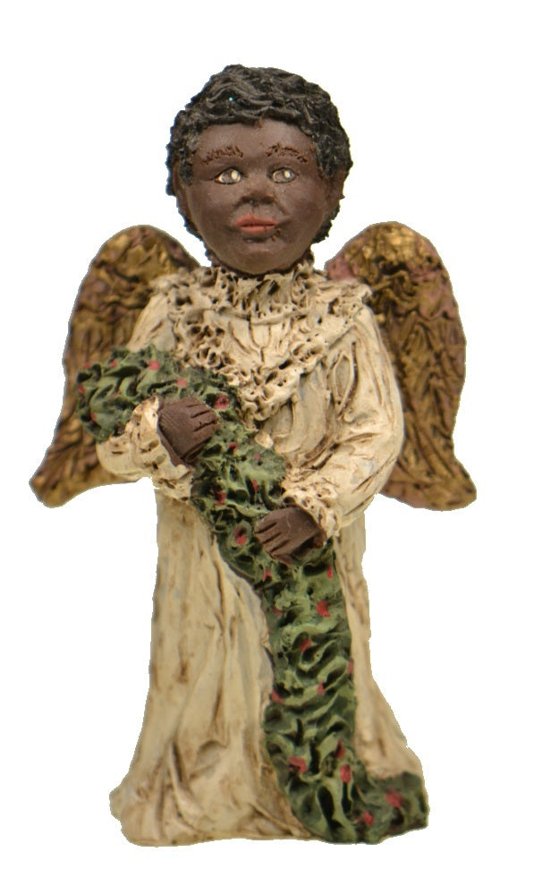 Figurines | Collectibles Black Angel Child Holding Christmas Garland Figurine