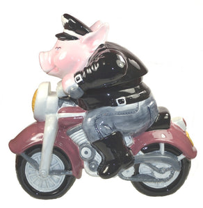 Home Decor | Cookie Jar Pig on Motorcycle