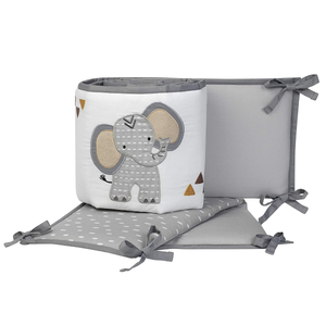 Lambs & Ivy Jungle Safari Gray & White Elephant 4-Piece Baby Crib Bumper Pads