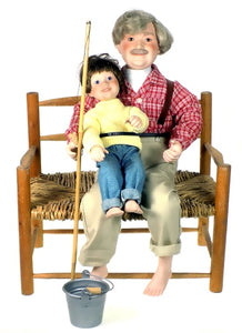 Danbury Mint Dolls The Fishing Lesson Grandpa and Child available at One Great Shop