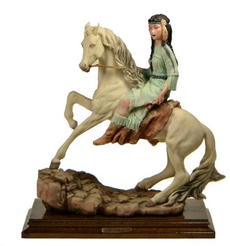 Figurines | Capodimonte Girl On Horse Dear Sculpture