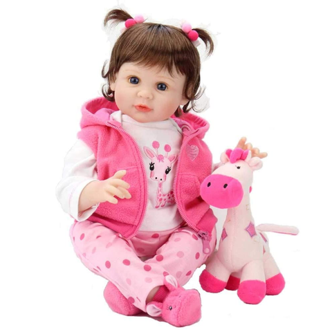 Baby Dolls 22 Inch Weighted Reborn Girl Doll with Pink Clothes and Deer Toy Accessories