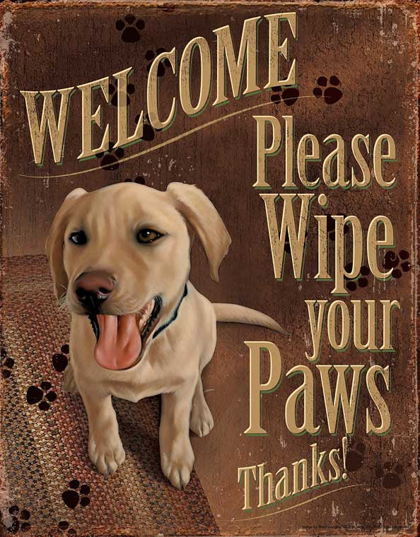 Tin Sign | Dog Welcome Metal Tin Sign Please Wipe Your Paws